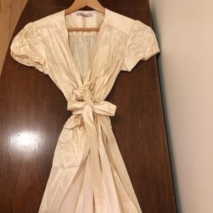 Calypso, size S, cream, short sleeve wrap 100%silk